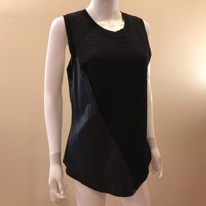 Black Quilted Faux Leather Sleeveless Top